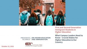 Image of students. Logos for Presidents' Alliance and Community College Consortium for Immigrant Education. Briefing title.