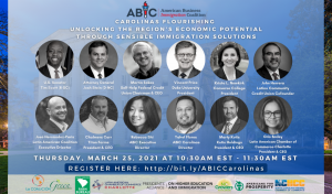 Images of speakers from the Carolinas Flourishing immigration summit